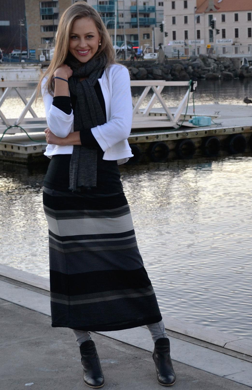 Wide Stripe Maxi Skirt in Black Multi Stripe