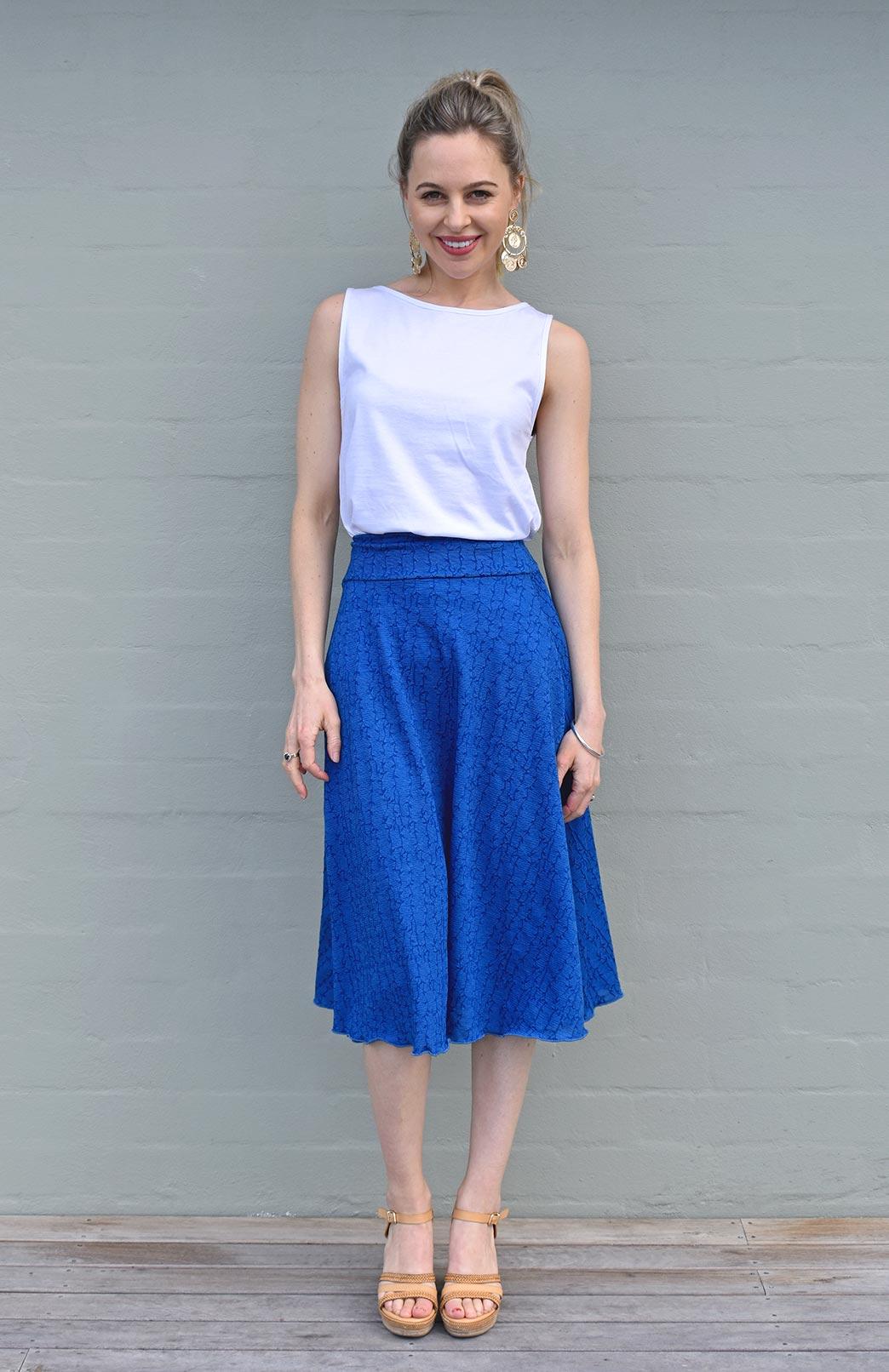 Twirl Skirt - Women's Azure Blue Patterned A-Line Swing Wool Skirt - Smitten Merino Tasmania Australia