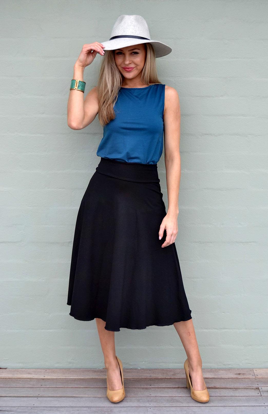 Black Twirl Skirt - Women's Black A-Line Swing Wool Skirt - Smitten Merino Tasmania Australia