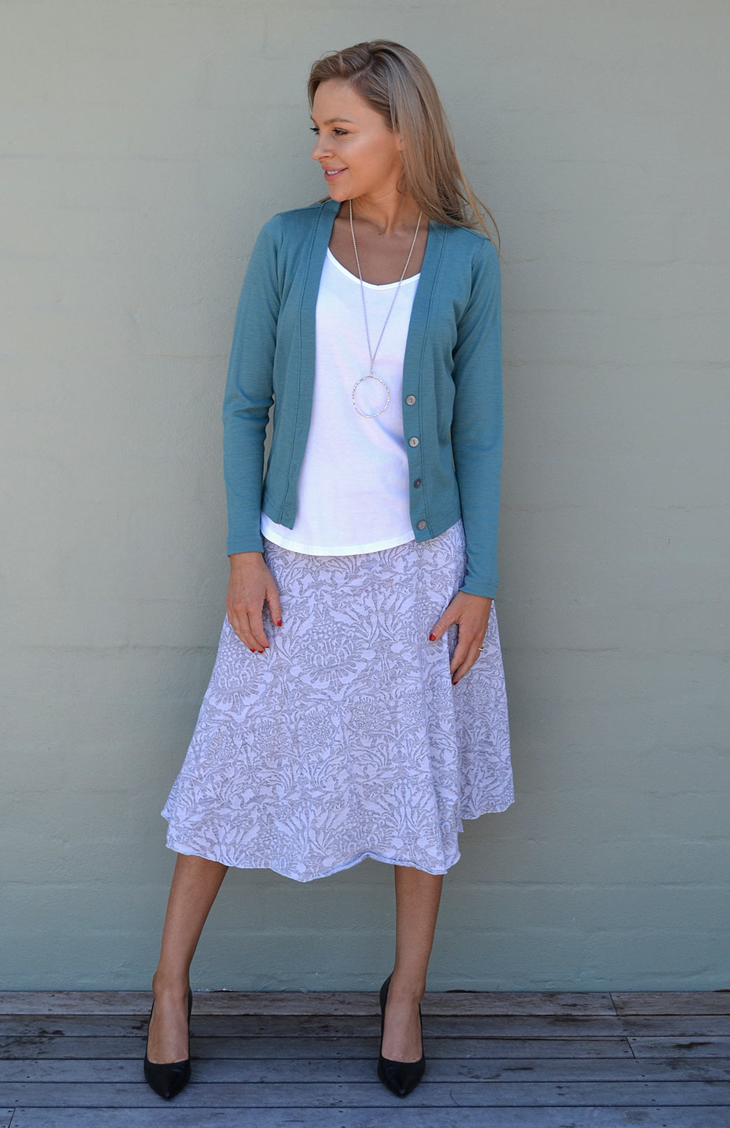 Twirl Skirt in Soft Grey and White Floral