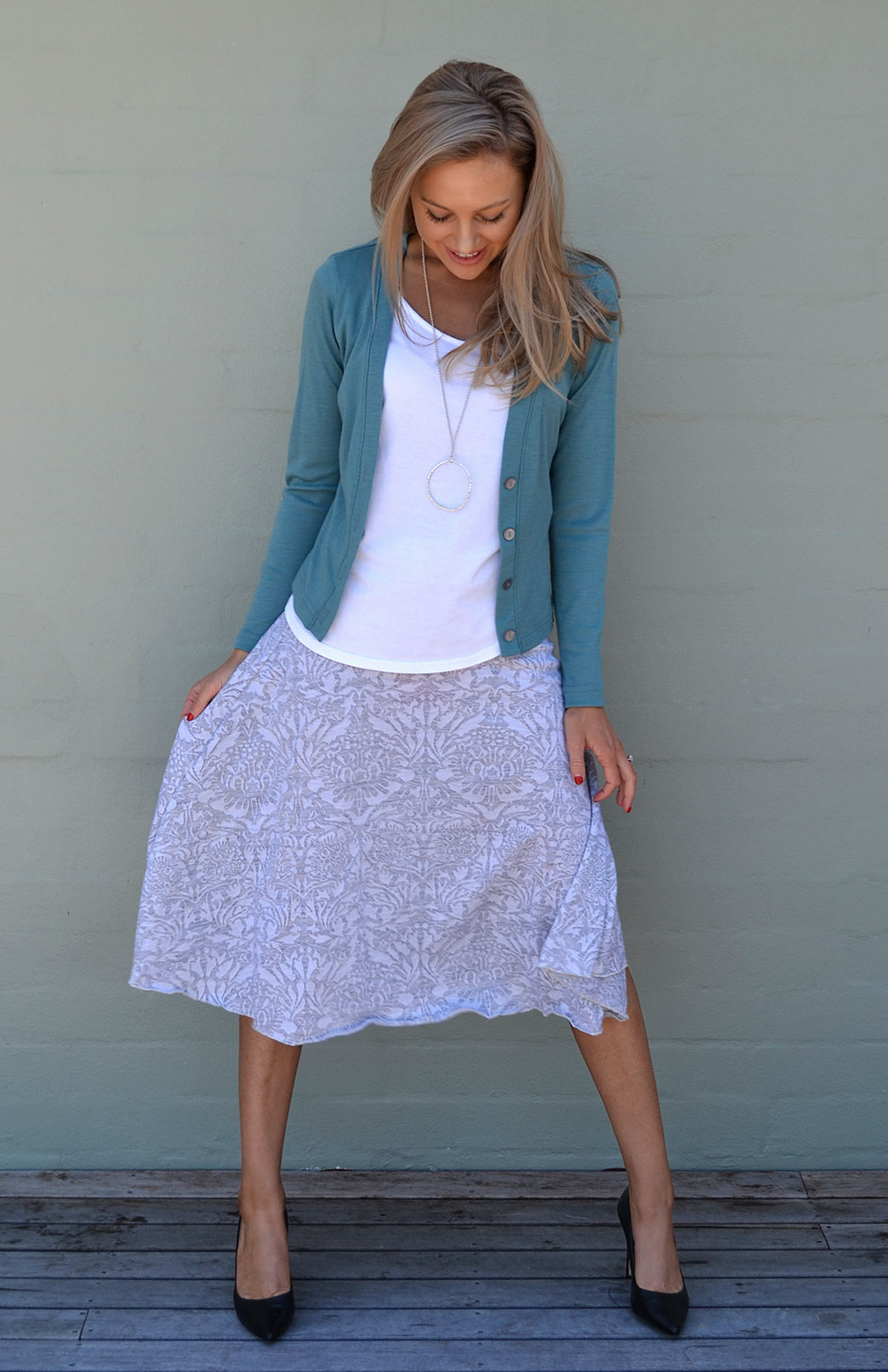 Petrel Long Sleeve Crop Cardi Grey Abbey Twirl Skirt