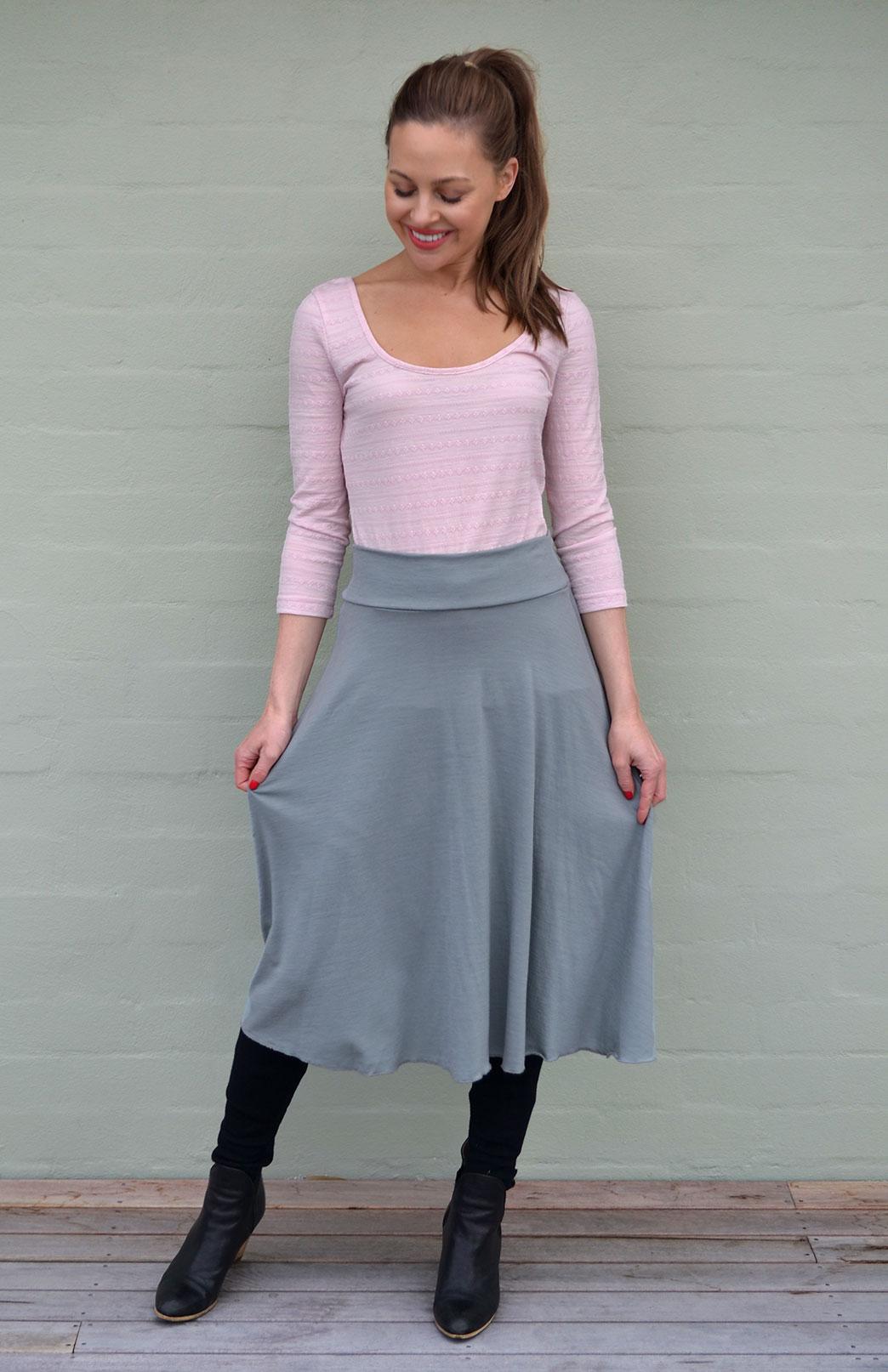 Twirl Skirt - Women's Grey Wool A-Line Twirl Skirt with elastic waistband - Smitten Merino Tasmania Australia