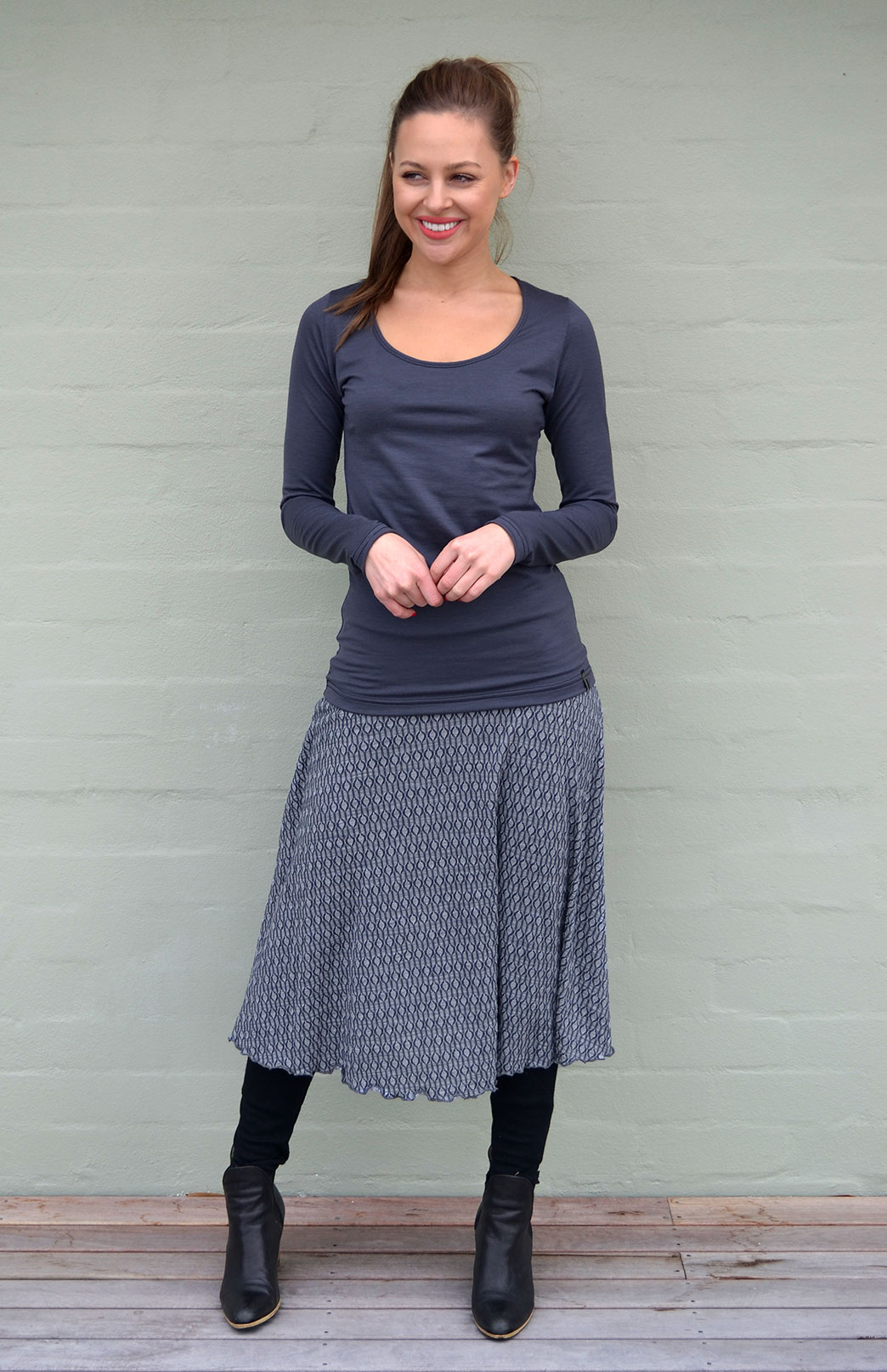 Twirl Skirt - Women's Wool Steel Keyhole Patterned A-Line Twirl Skirt - Smitten Merino Tasmania Australia
