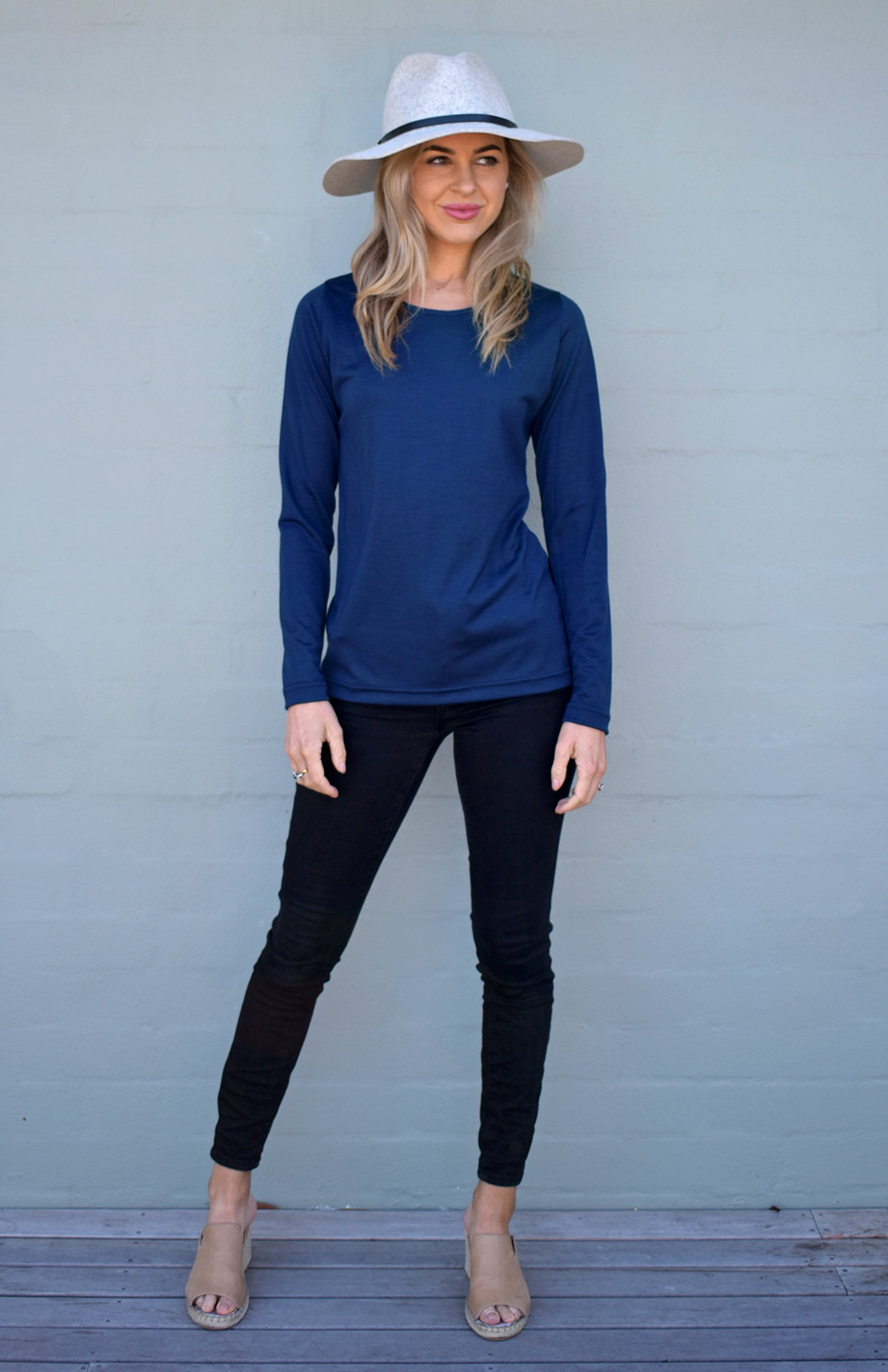 Round Neck Top - Plain - Women's Ink Blue Long Sleeved Merino Wool Thermal Top - Smitten Merino Tasmania Australia