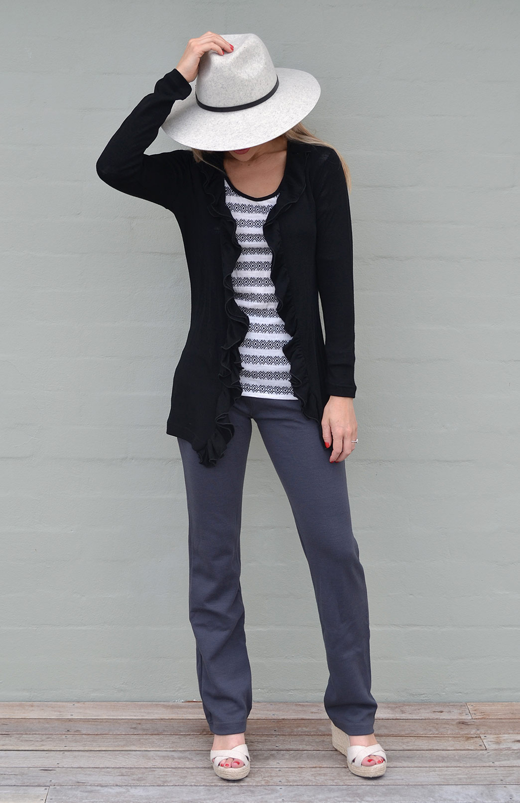 Ruffled Cardigan - Women's Classic Straight Black Wool Cardigan with Ruffled Neckline - Smitten Merino Tasmania Australia