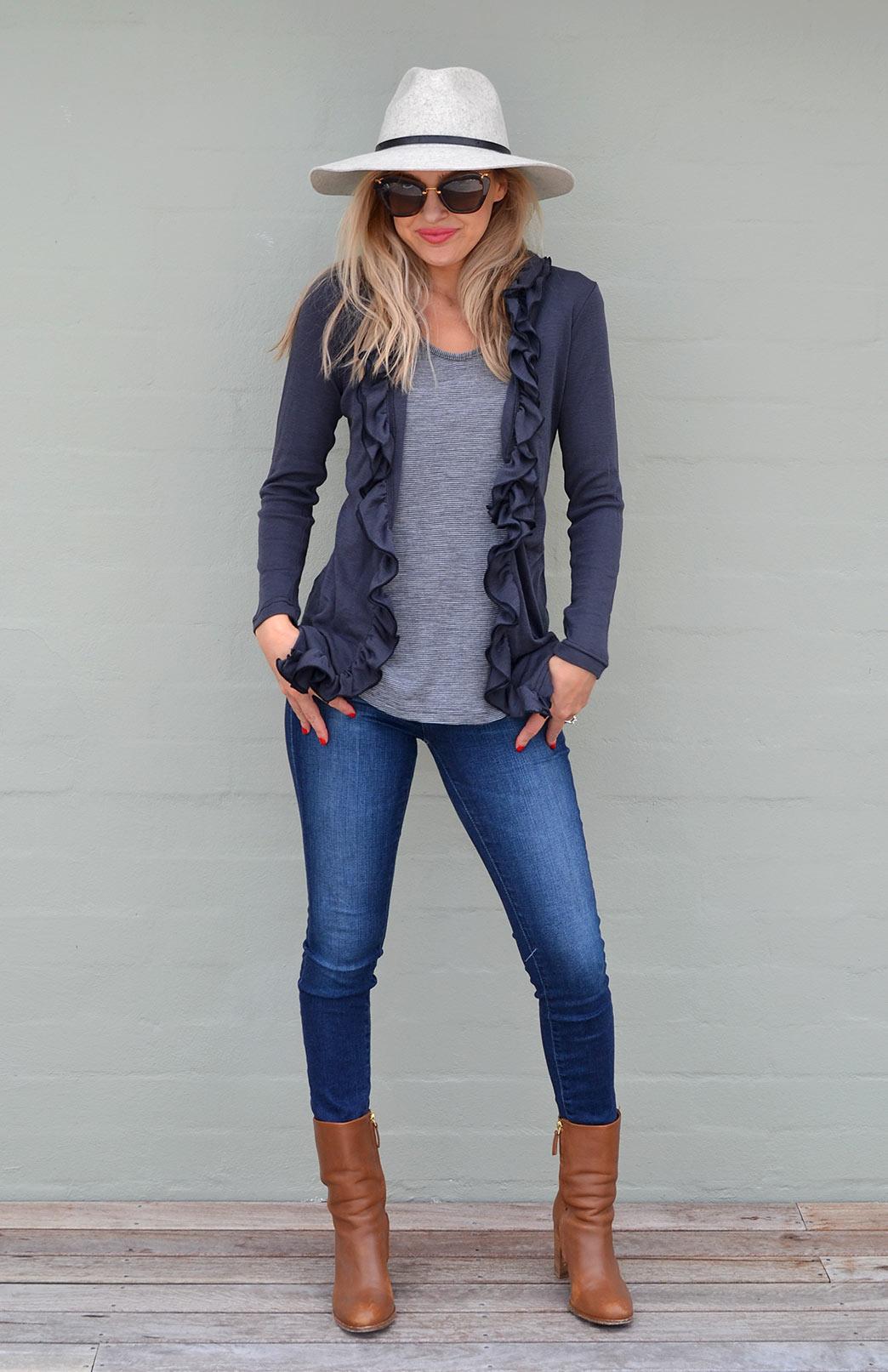 Ruffled Cardigan - Women's Classic Straight Dark Grey Steel Wool Cardigan with Ruffled Neckline - Smitten Merino Tasmania Australia