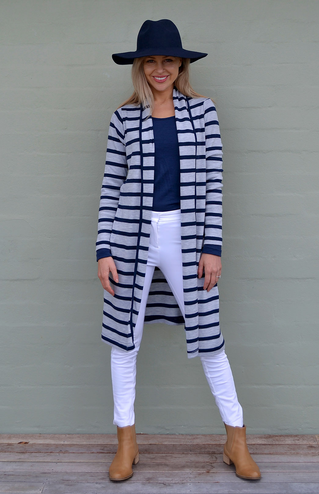 Long Drape Cardigan - Heavyweight - Women's Merino Wool Heavy Weight Striped Long Drape Cardigan - Smitten Merino Tasmania Australia