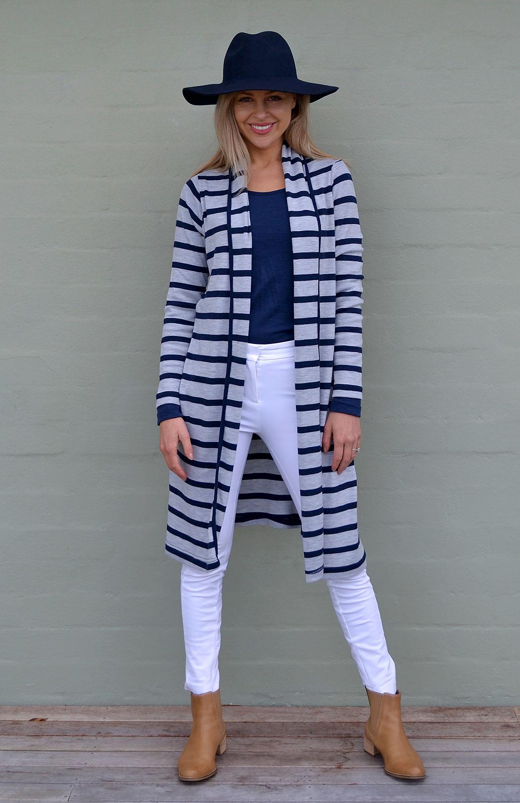 Long Drape Cardigan - Heavyweight - Women's Merino Wool Heavy Weight Striped Long Drape Cardigan - Smitten Merino Tasmania Australia