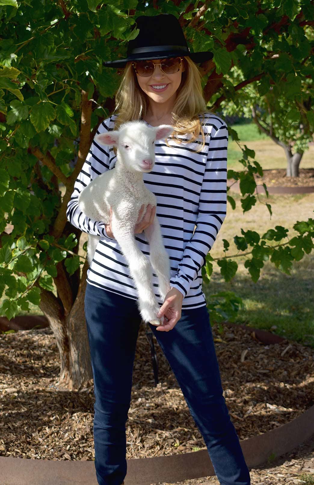 Round Neck Top - Rib Fabric - Women's White & Black French Striped Merino Wool Long Sleeve Top - Smitten Merino Tasmania Australia