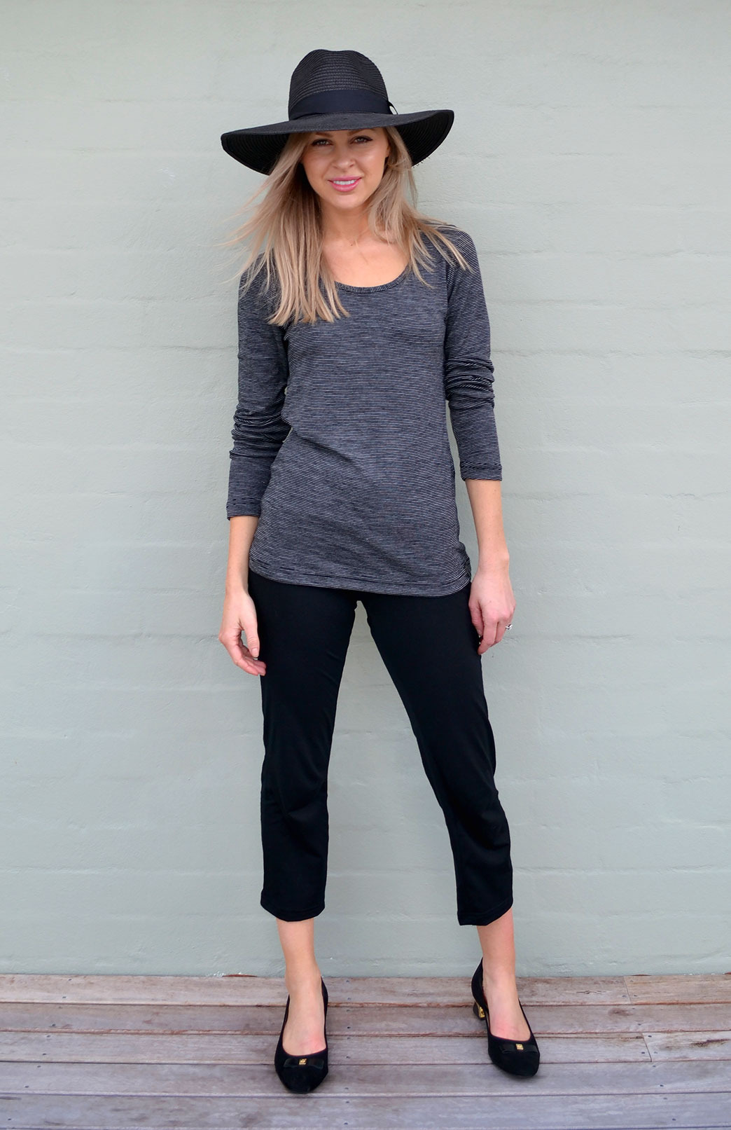 Scoop Neck Top - Rib Fabric - Women's Black Pinstripe Merino Wool Long Sleeve Top - Smitten Merino Tasmania Australia