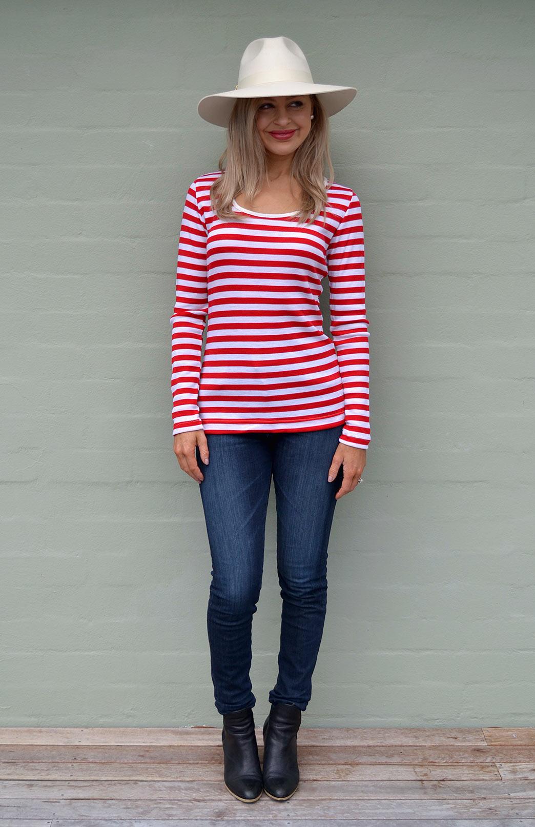 Scoop Neck Top - Rib Fabric - Women's Striped Merino Wool Long Sleeve Top - Smitten Merino Tasmania Australia