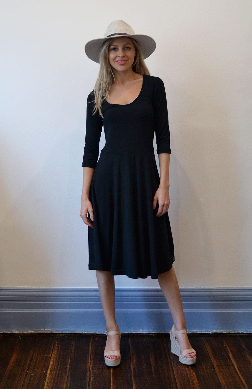 3/4 Jackie Dress - Women's Black Merino Wool 3/4 Sleeve Jackie Dress - Smitten Merino Tasmania Australia