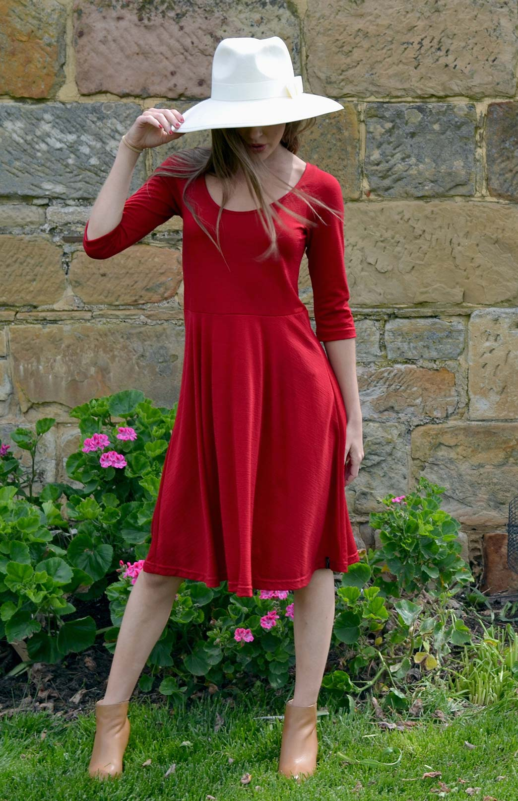 3/4 Jackie Dress - Women's Flame Red Merino Wool 3/4 Sleeve Jackie Dress - Smitten Merino Tasmania Australia