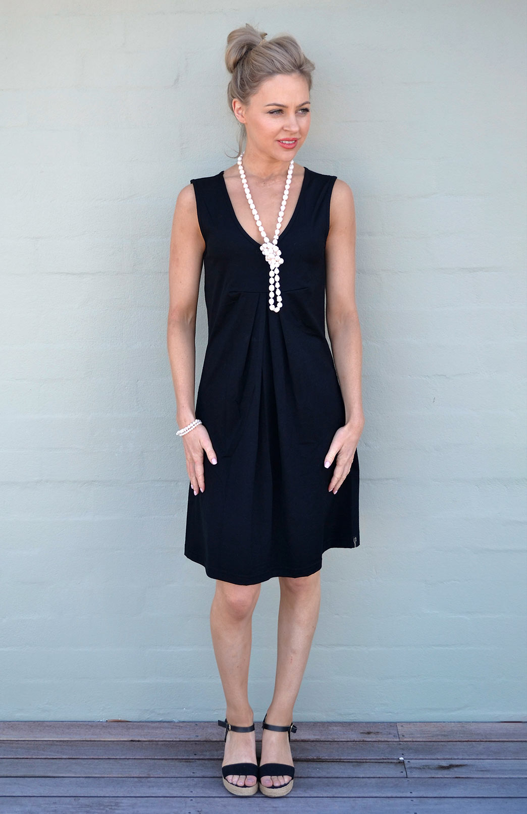 V-Front Dress - Women's Merino Wool Black V-Neck Dress with Front Pleats - Smitten Merino Tasmania Australia