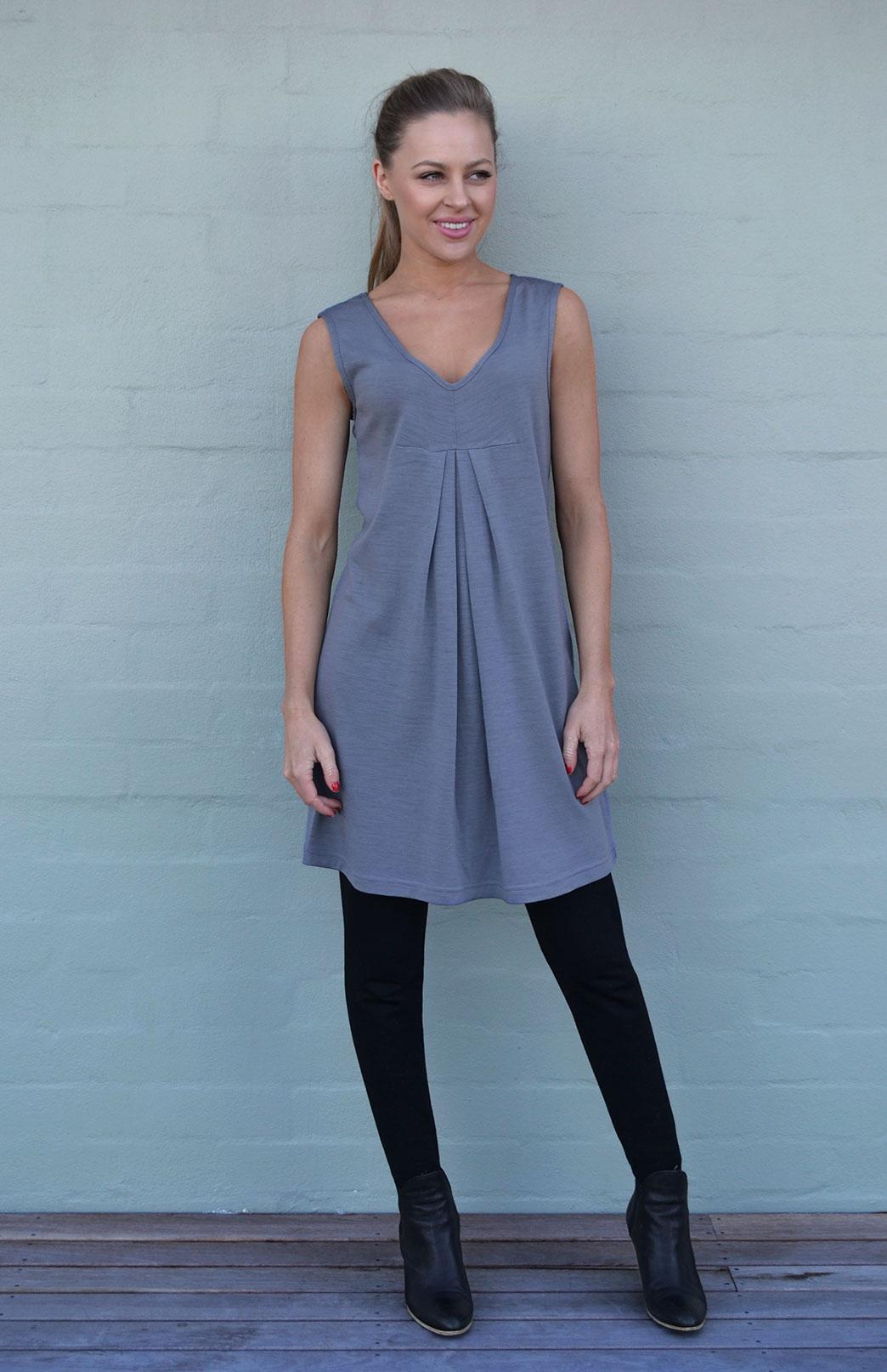 V-Front Dress - Women's Merino Wool Smoke Grey V-Neck Dress with Front Pleats - Smitten Merino Tasmania Australia