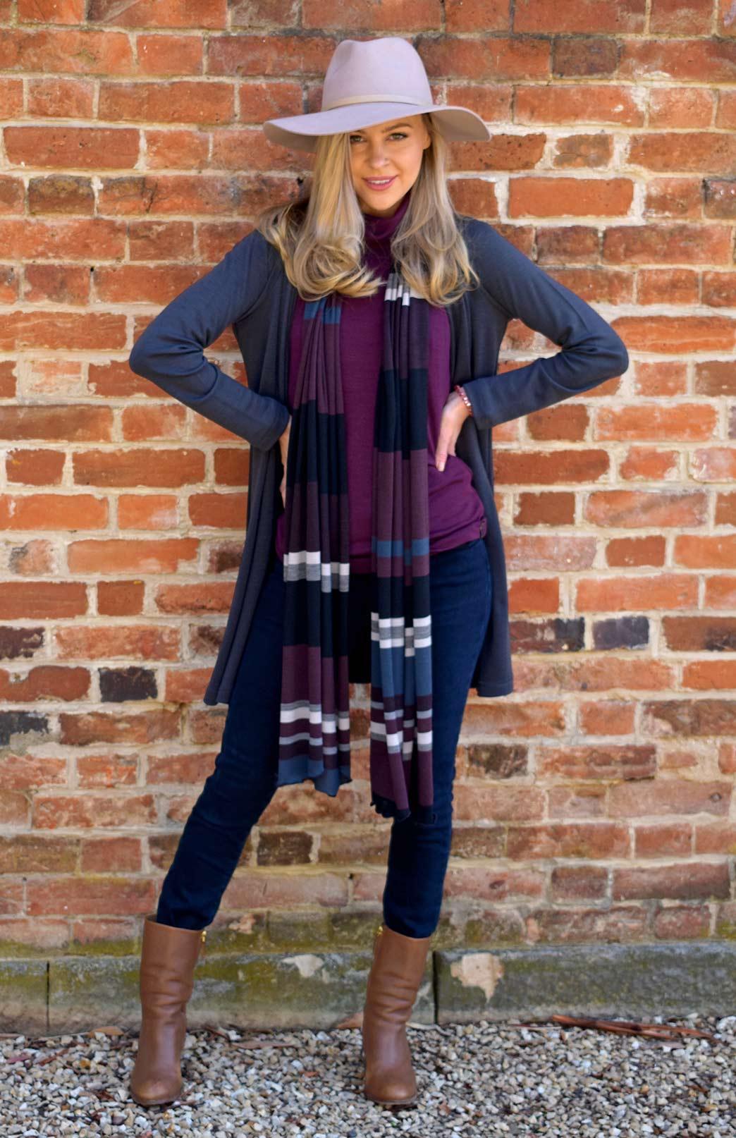 Drape Cardigan - Heavyweight - Women's Lead Grey Wool Drape Cardigan with no zips or fastenings - Smitten Merino Tasmania Australia