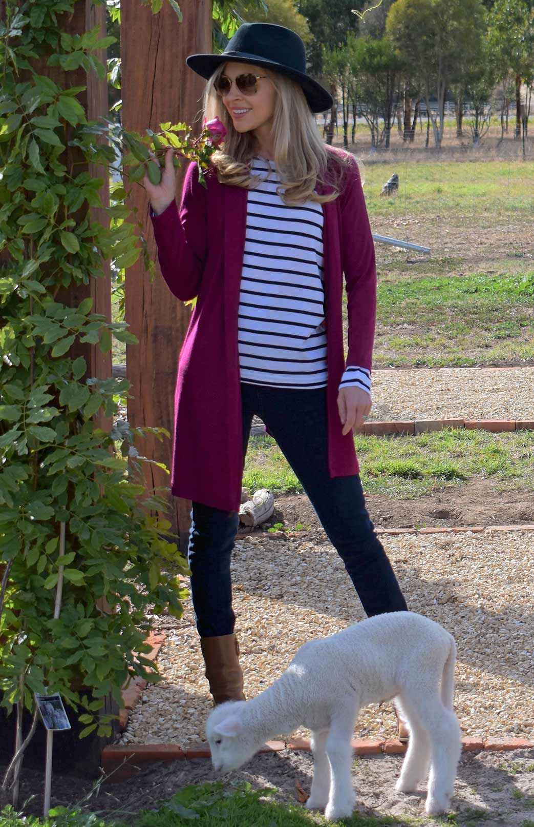 Drape Cardigan - Heavyweight - Women's Magenta Wool Drape Cardigan with no zips or fastenings - Smitten Merino Tasmania Australia