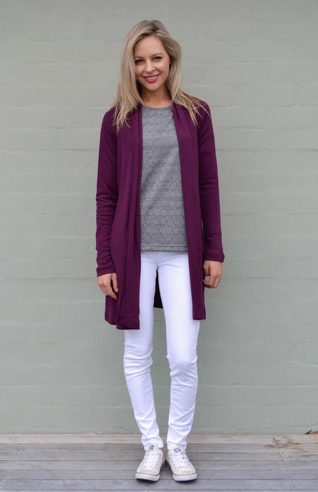 Drape Cardigan - Women's Aubergine Purple Wool Drape Cardigan with no zips or fastenings - Smitten Merino Tasmania Australia