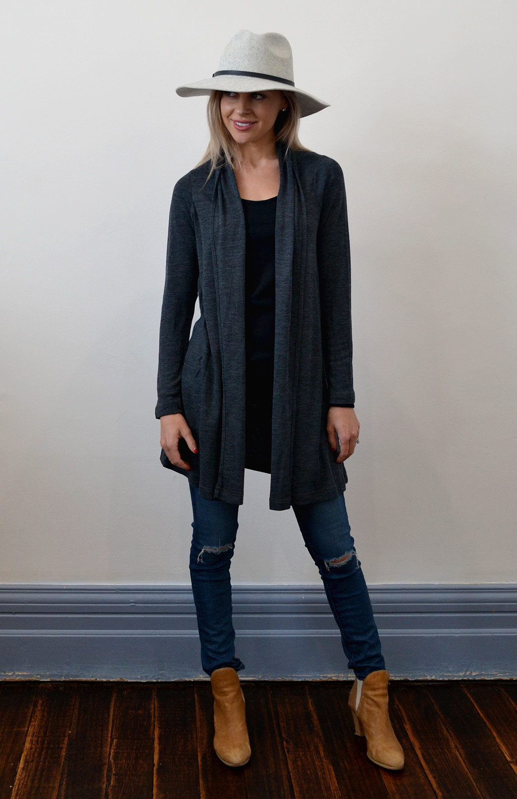 Drape Cardigan - Lightweight - Women's Charcoal Grey Wool Drape Cardigan with no buttons or fastenings - Smitten Merino Tasmania Australia