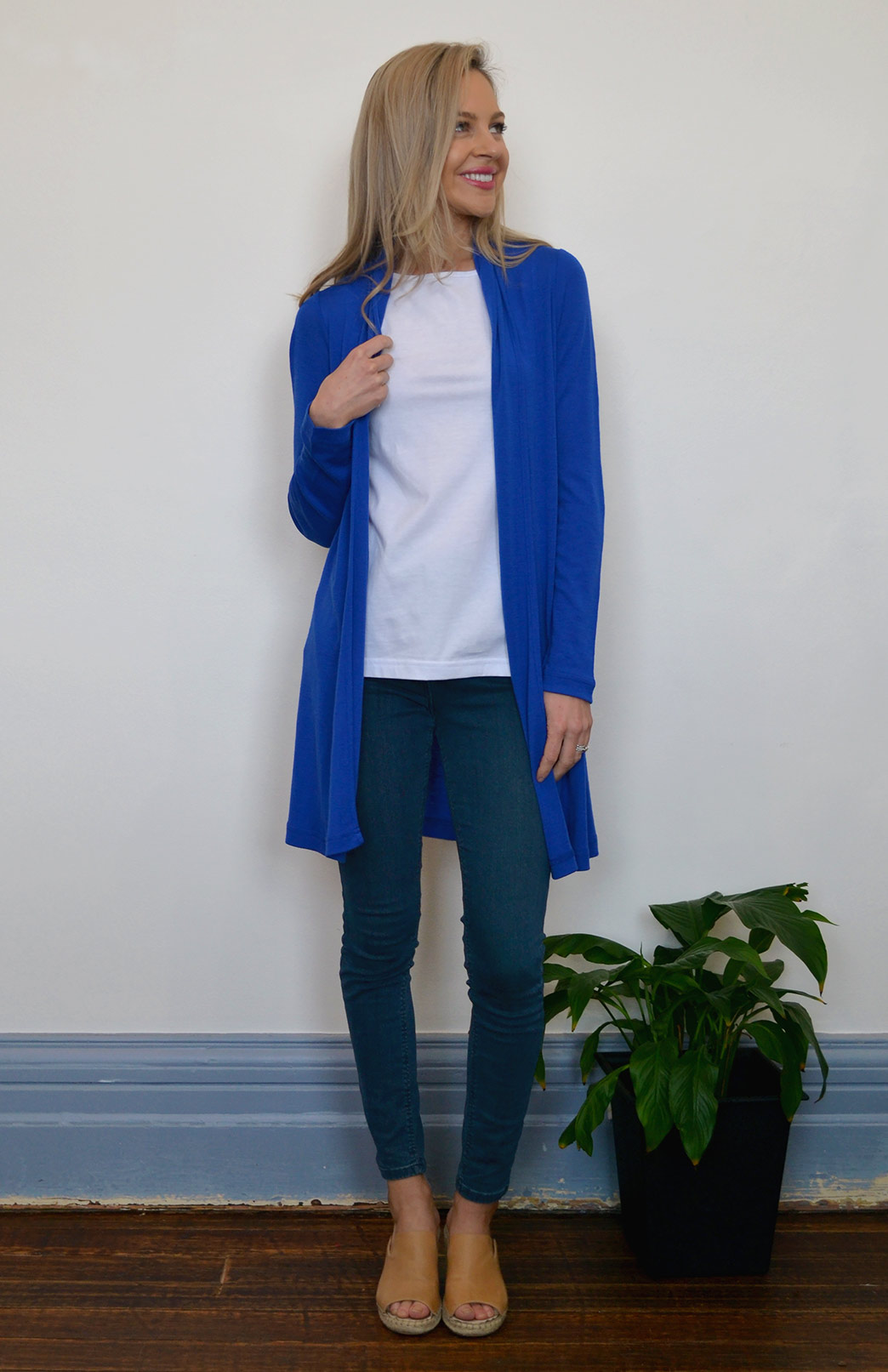 Drape Cardigan - Lightweight - Women's Electric Blue Wool Drape Cardigan with no buttons or fastenings - Smitten Merino Tasmania Australia
