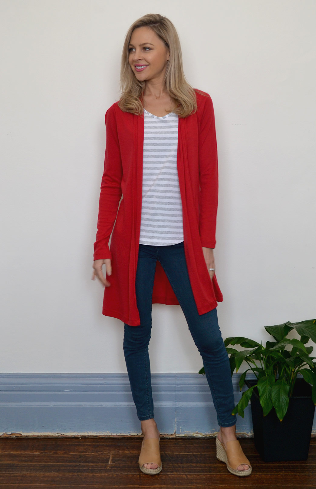 Drape Cardigan - Lightweight - Women's Flame Red Wool Drape Cardigan with no buttons or fastenings - Smitten Merino Tasmania Australia