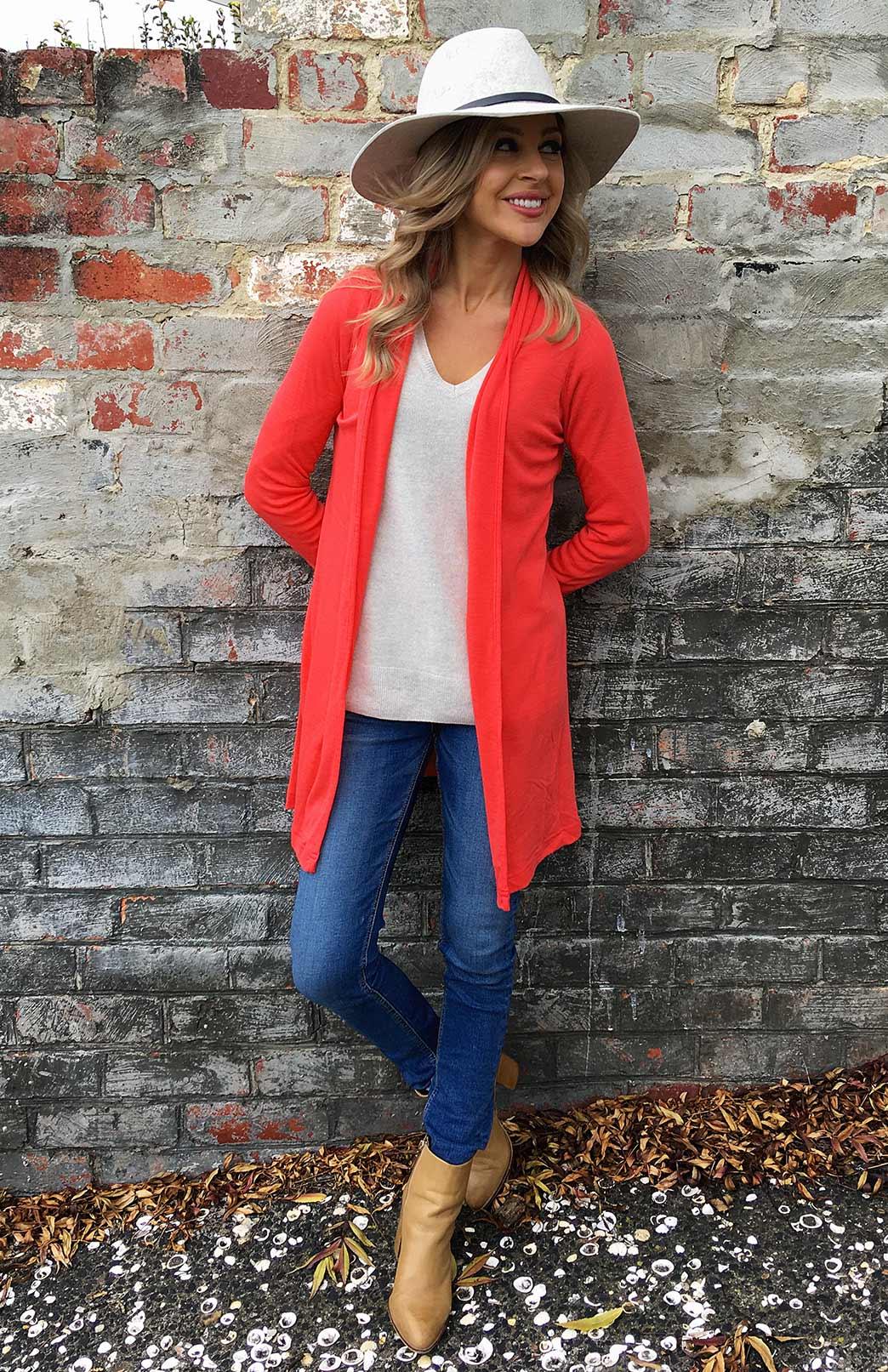 Drape Cardigan - Women's Pink Wool Drape Cardigan with no buttons or fastenings - Smitten Merino Tasmania Australia