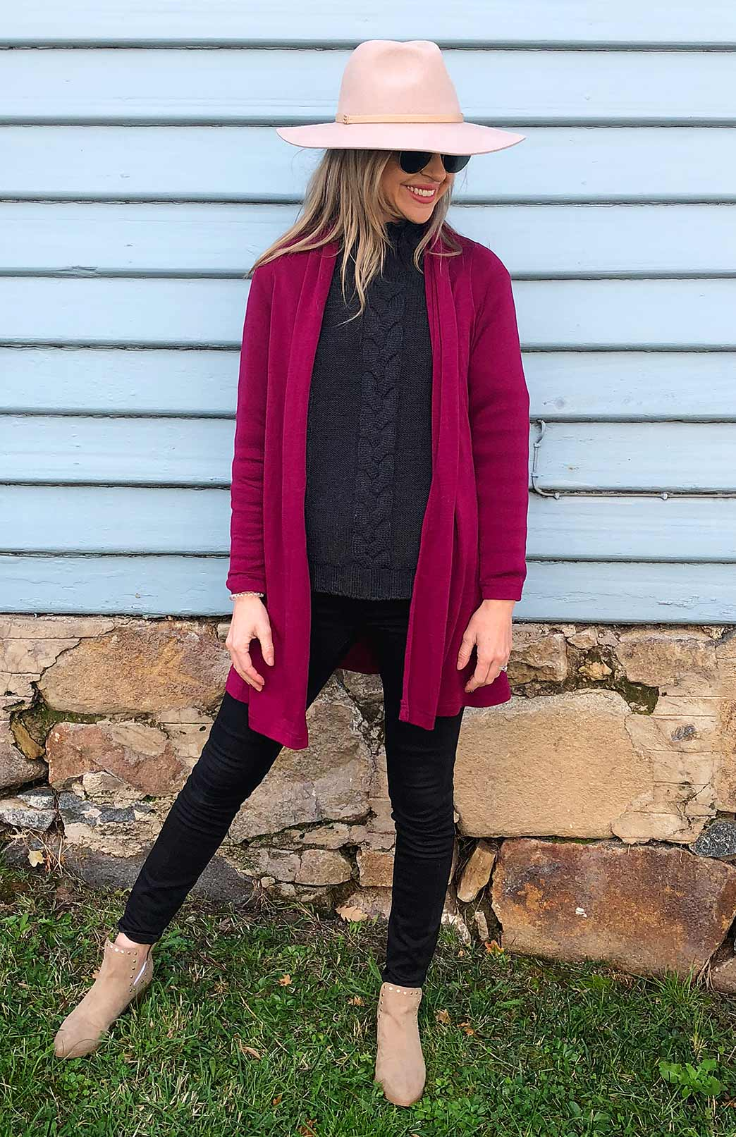 Our Model wearing Drape Cardigan in Magenta