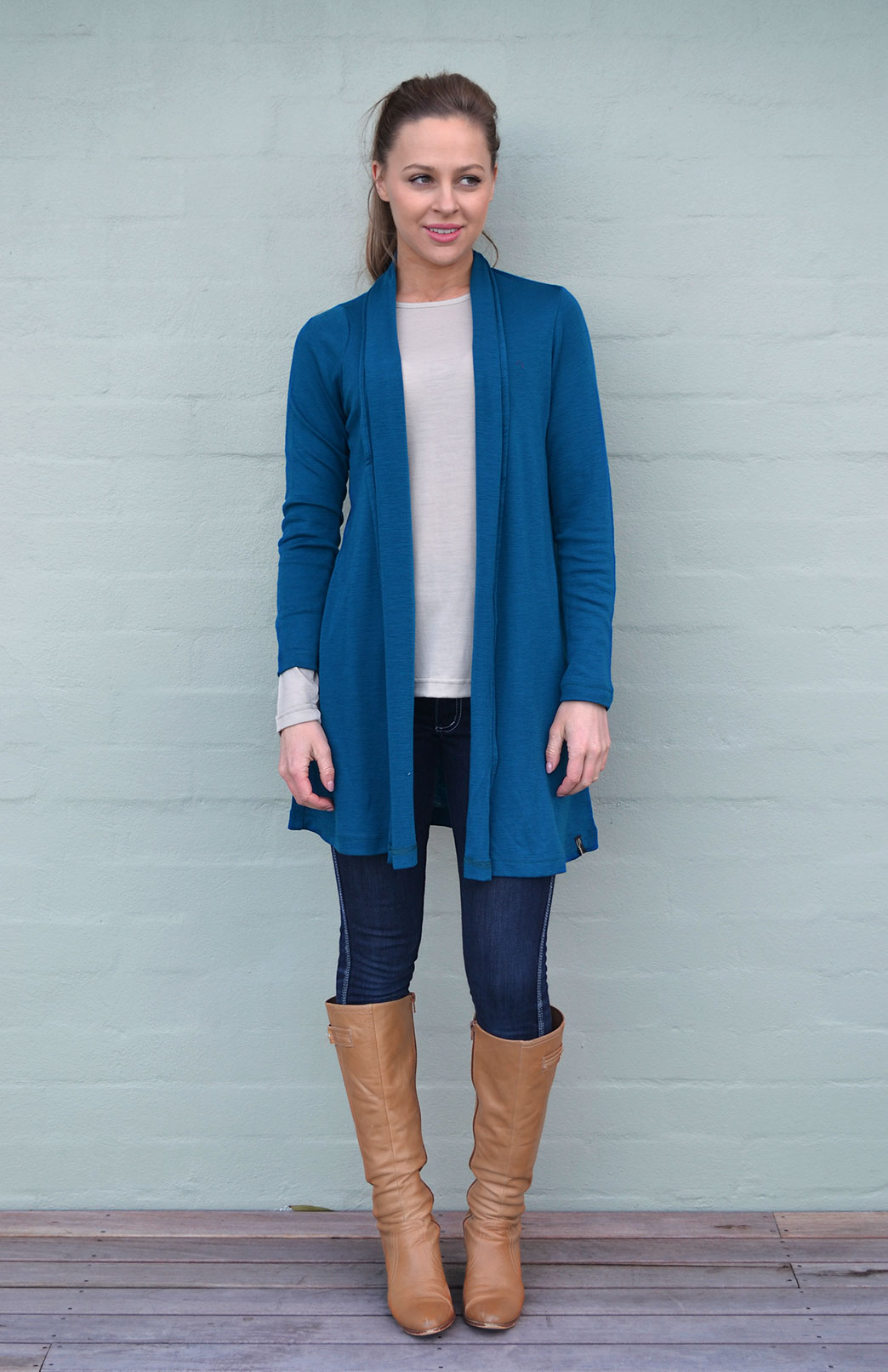Drape Cardigan - Women's Teal Wool Drape Cardigan with no buttons or fastenings - Smitten Merino Tasmania Australia