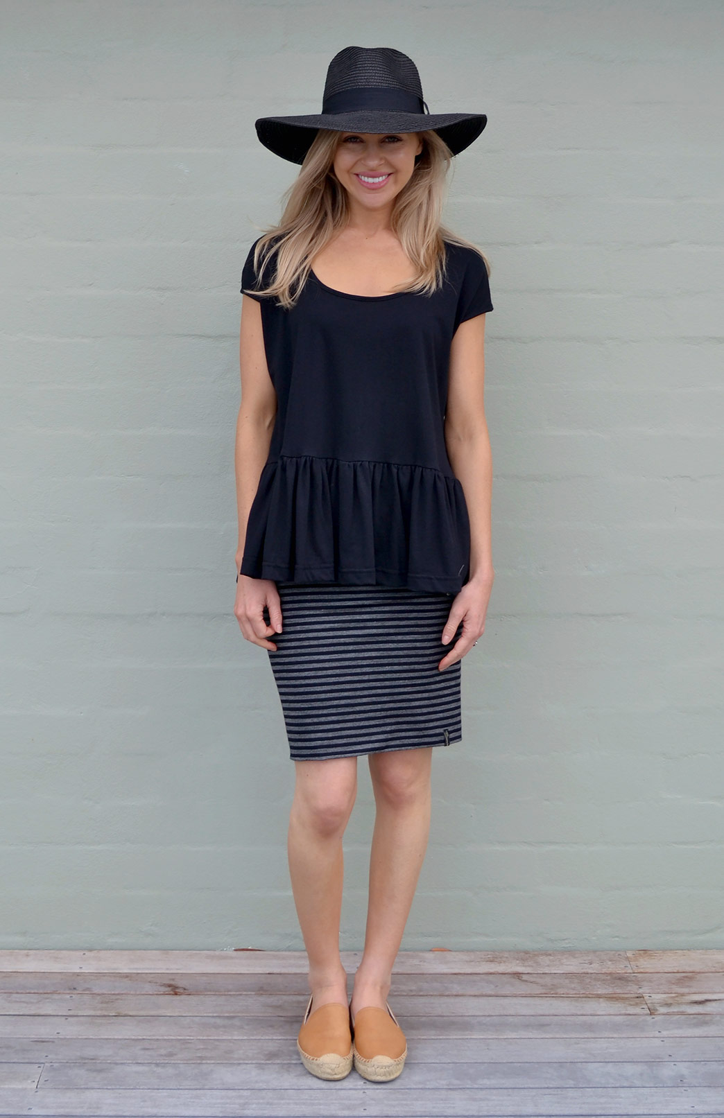 Short Tube Skirt - Striped - Women's Short Wool Mini Skirt - Smitten Merino Tasmania Australia