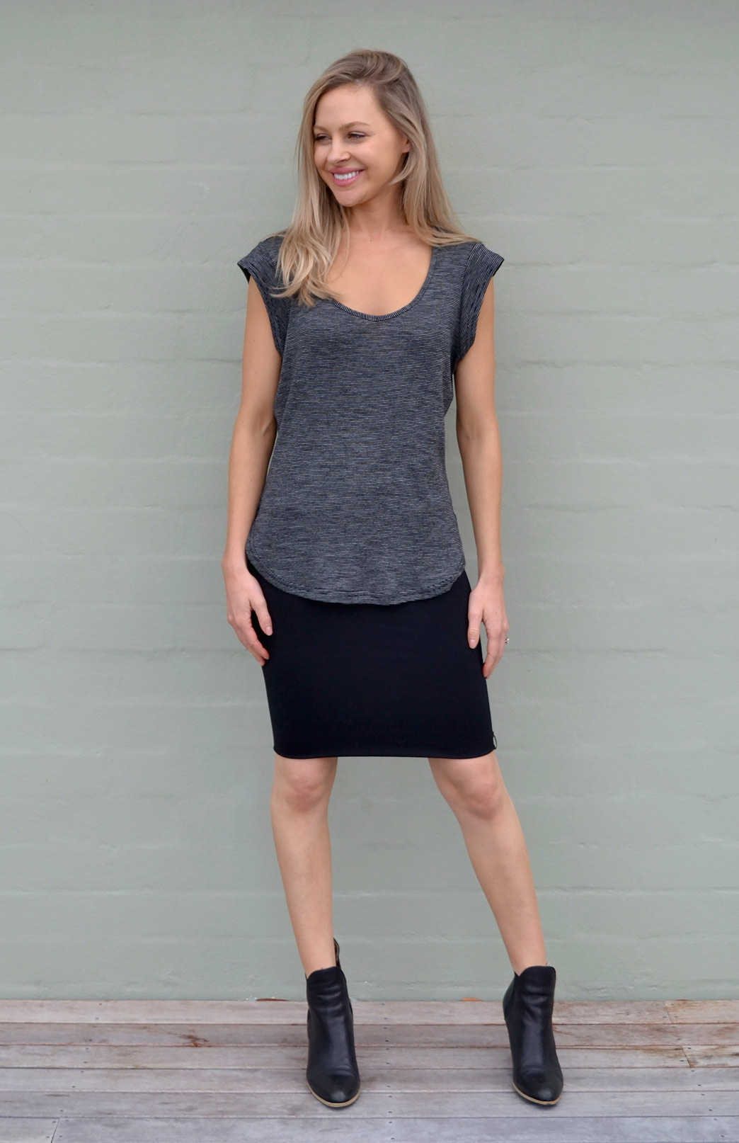 Short Tube Skirt - Women's Wool Black Short Mini Skirt - Smitten Merino Tasmania Australia