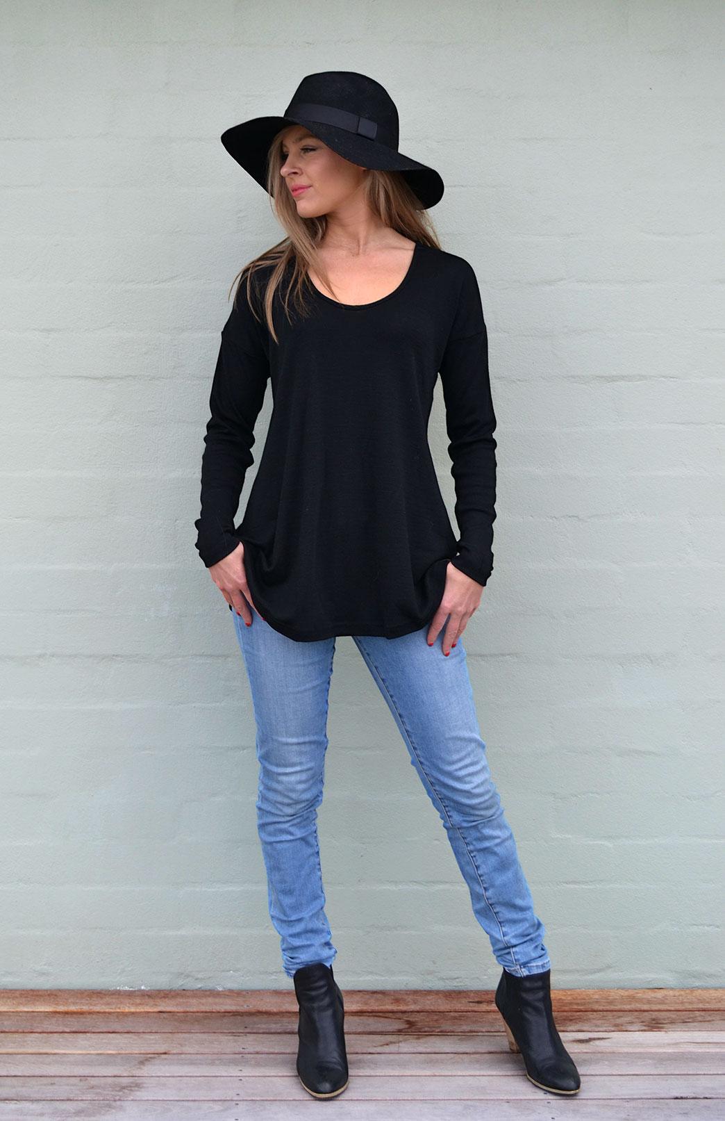 Wave Top - Women's Relaxed Fit Black Wool Top with dropped shoulders - Smitten Merino Tasmania Australia