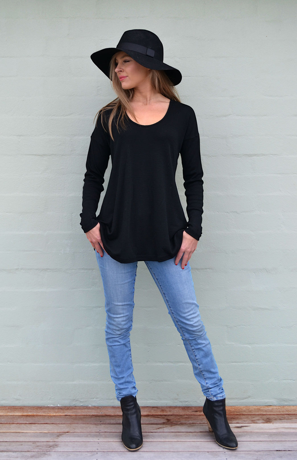Wave Top - Women's Relaxed Fit Black Wool Top with dropped shoulders - Smitten Merino Tasmania Australia