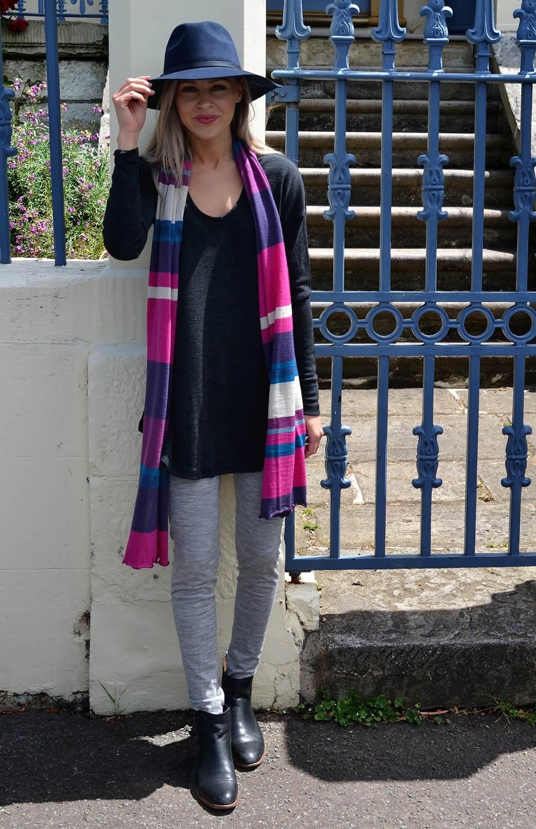 Scarves - Multi Striped - Women's Grape Purple and Pink Multi Striped Wide Wool Scarf - Smitten Merino Tasmania Australia
