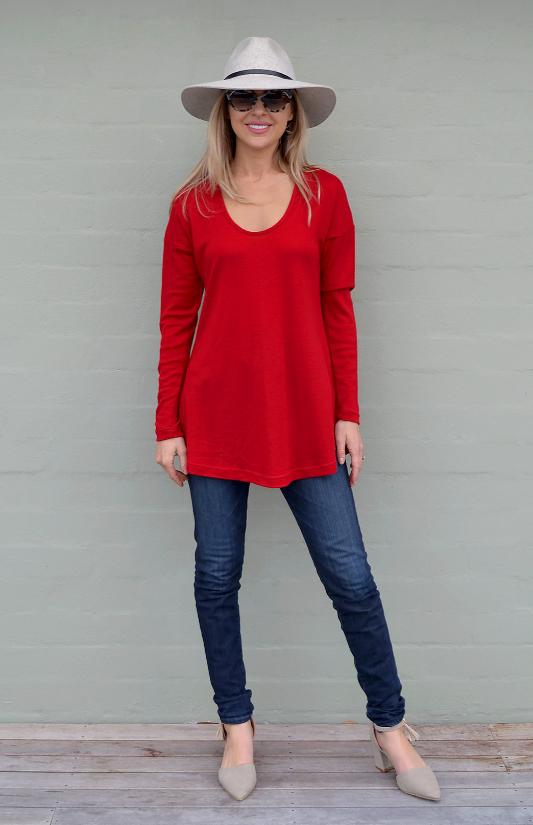 Wave Top - Women's Relaxed Fit Red Wool Top with dropped shoulders - Smitten Merino Tasmania Australia