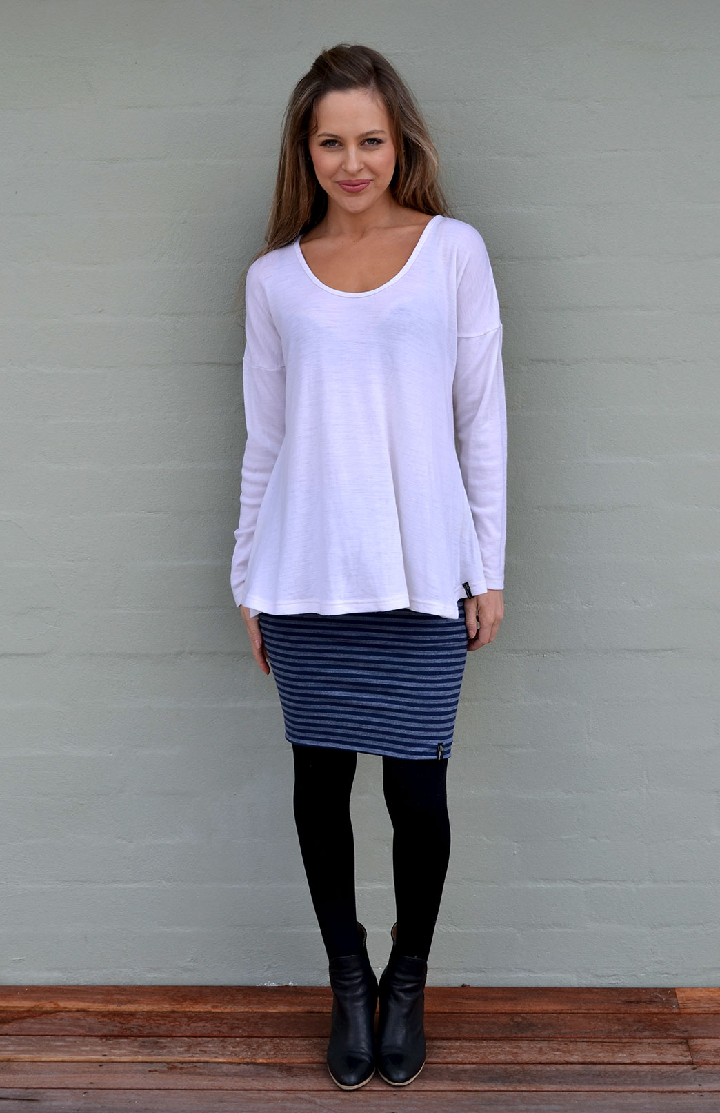 Wave Top - Women's Ivory Wool Top with dropped shoulder - Smitten Merino Tasmania Australia