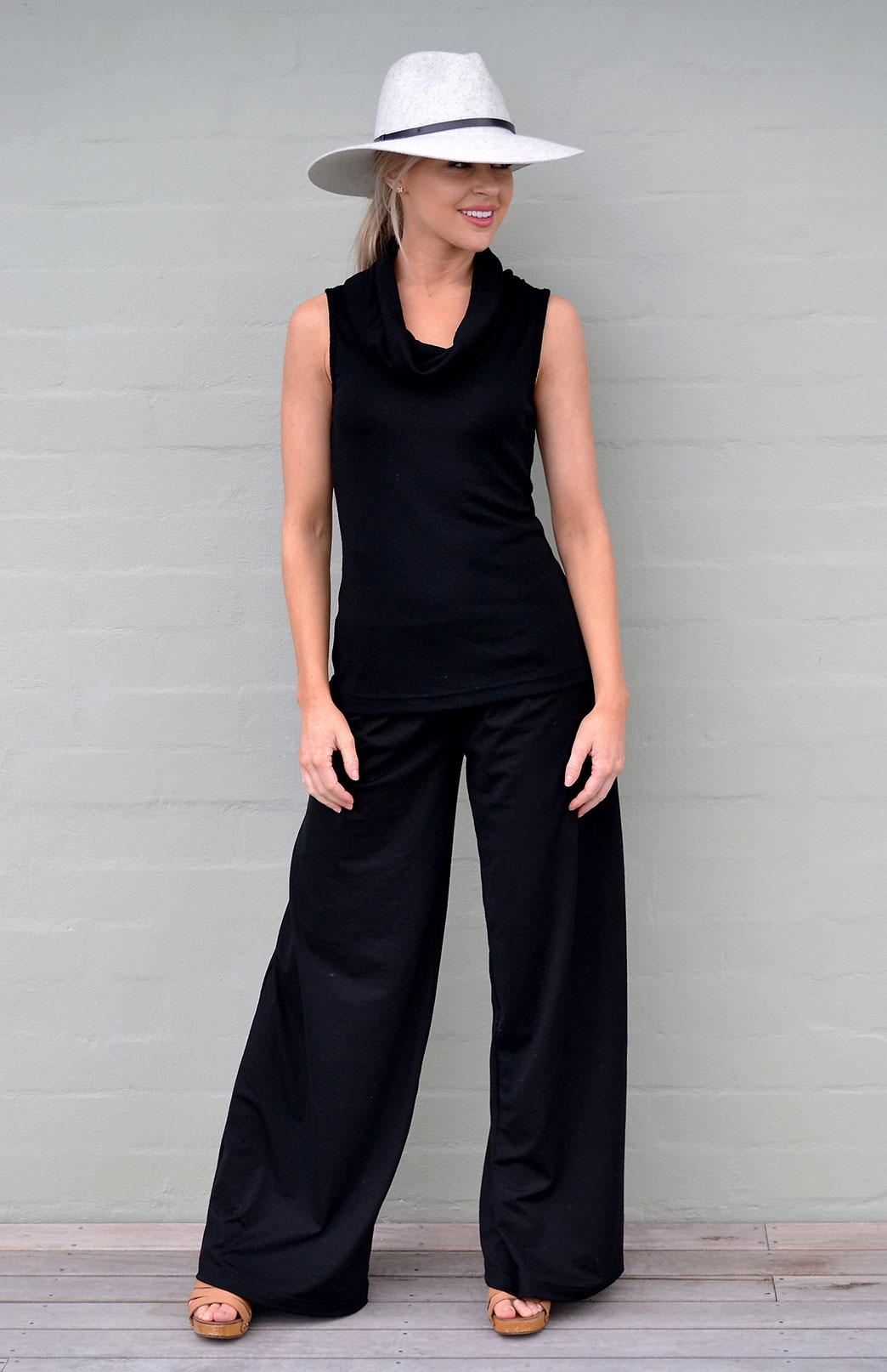 Cowl Neck Top - Sleeveless - Women's Black Sleeveless Trans-Seasonal Wool Top - Smitten Merino Tasmania Australia