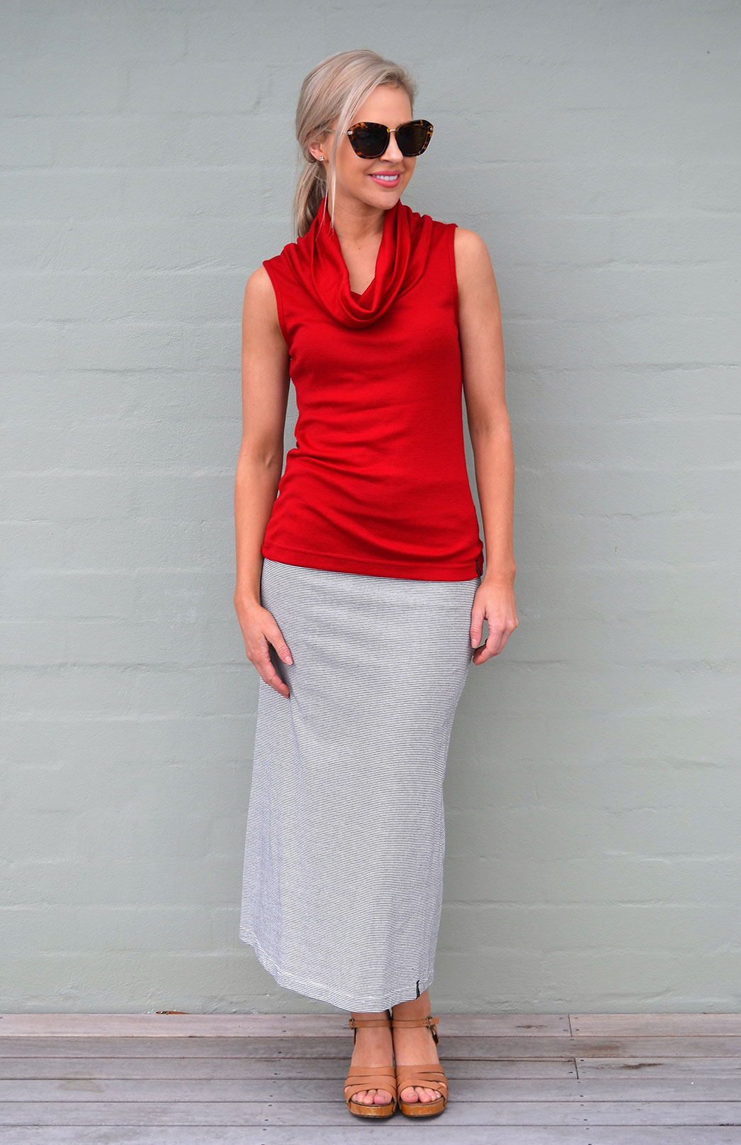 Cowl Neck Top Sleeveless Women S Chilli Red Sleeveless