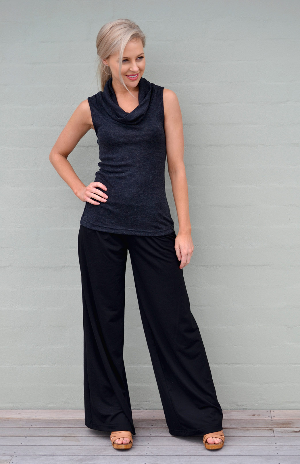 Cowl Neck Top - Sleeveless - Women's Charcoal Marl Sleeveless Trans-Seasonal Wool Top - Smitten Merino Tasmania Australia