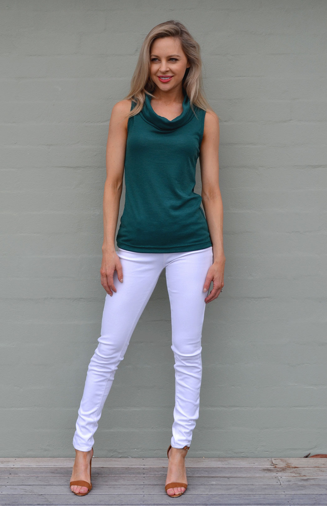 Cowl Neck Top - Sleeveless - Women's Pure Merino Wool Emerald Green Sleeveless Cowl Neck Top - Smitten Merino Tasmania Australia