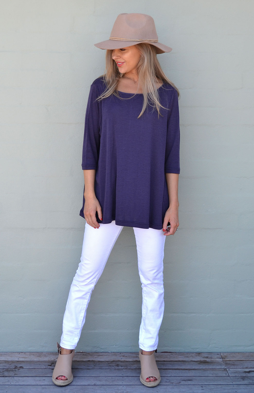 3/4 Flutter Top - Women's Grape Merino Wool 3/4 Sleeve Spring Top - Smitten Merino Tasmania Australia