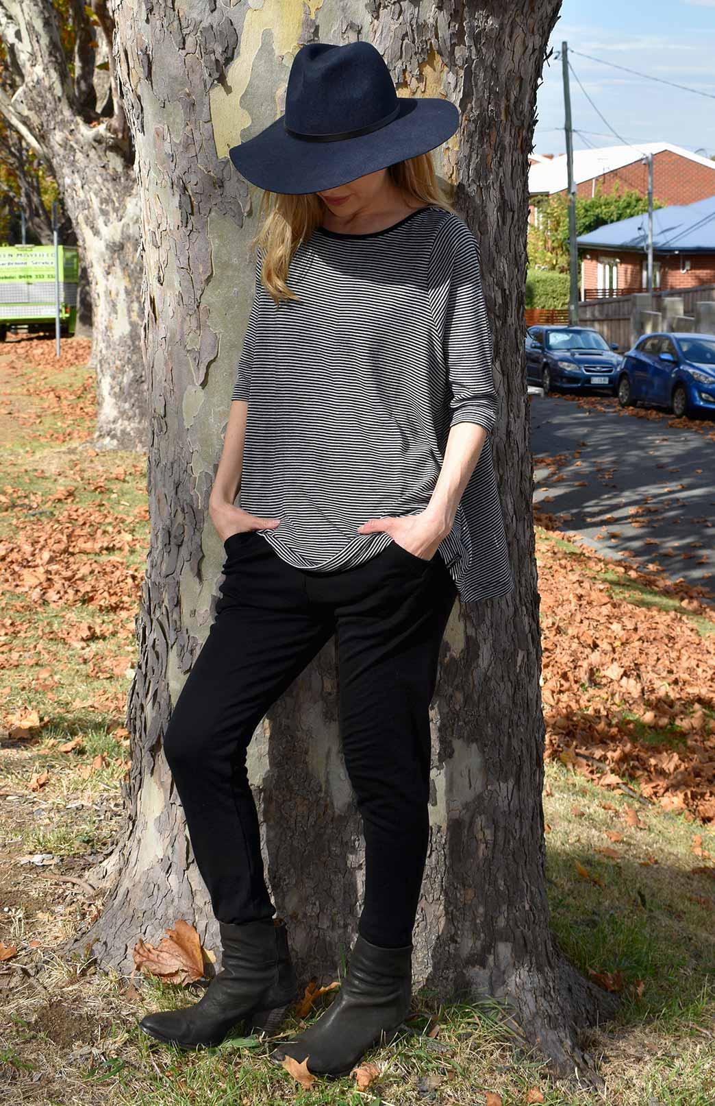 3/4 Flutter Top - Women's Striped Merino Wool 3/4 Sleeve Spring Top - Smitten Merino Tasmania Australia