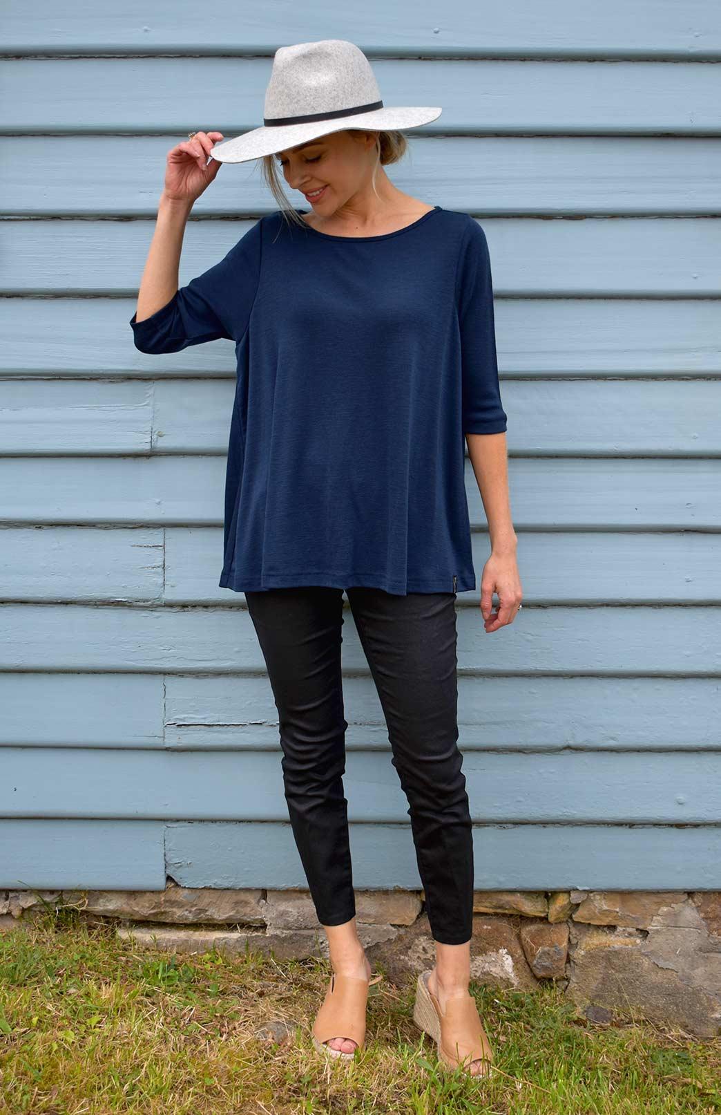 3/4 Flutter Top - Women's Ink Blue Merino Wool 3/4 Sleeve Spring Top - Smitten Merino Tasmania Australia