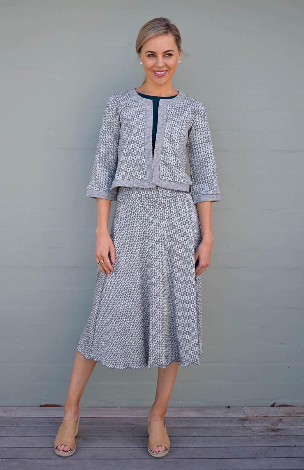 Twirl Skirt - Women's Olive Green and Ivory Mini Check A-Line Swing Wool Skirt - Smitten Merino Tasmania Australia