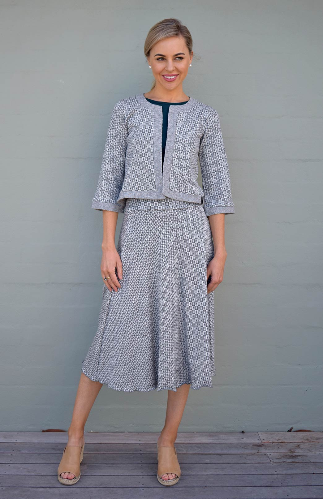 Twirl Skirt - Women's Olive Green and Ivory Mini Check A-Line Swing Wool Skirt - Smitten Merino Tasmania Australia