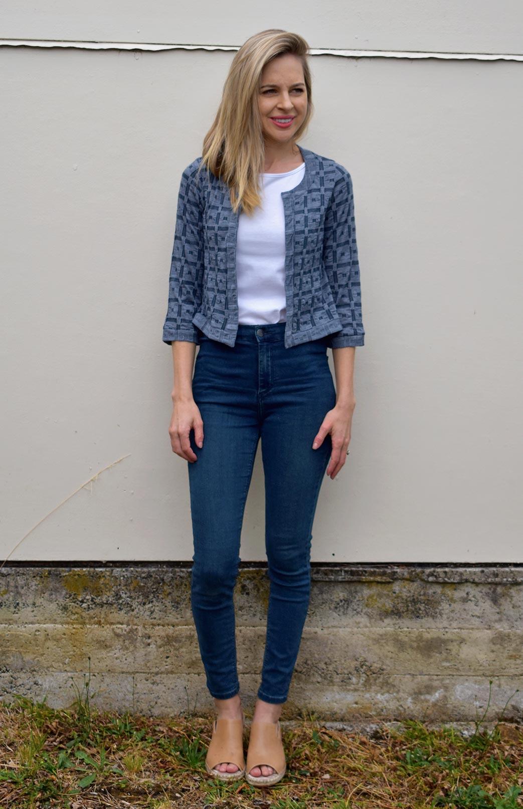 Coco Jacket - Women's Steel Blue Check Patterned 100% Merino Wool Coco Jacket - Smitten Merino Tasmania Australia