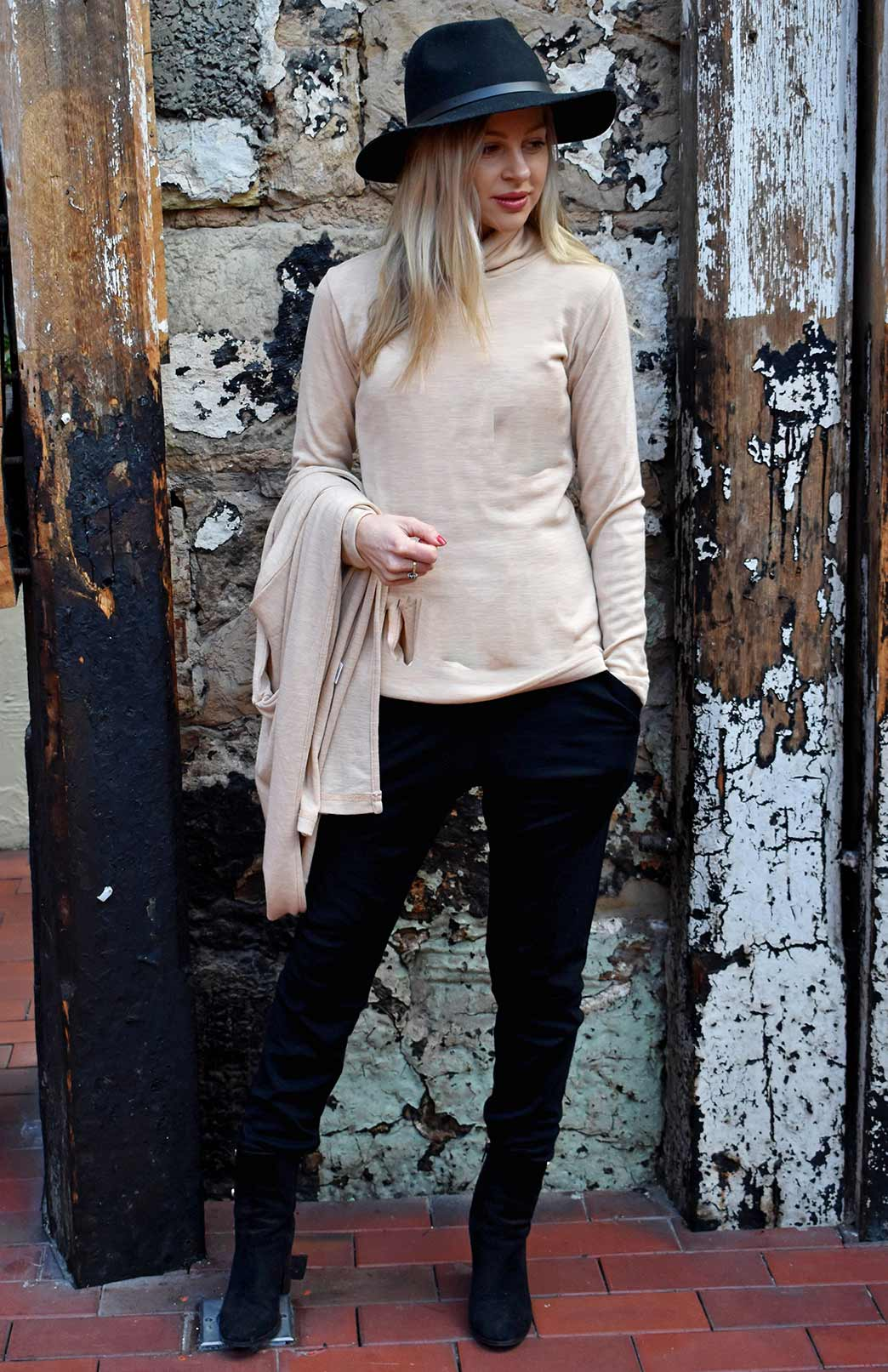 Polo Neck Top - Women's Merino Wool Long Sleeved Polo Neck Top - Smitten Merino Tasmania Australia