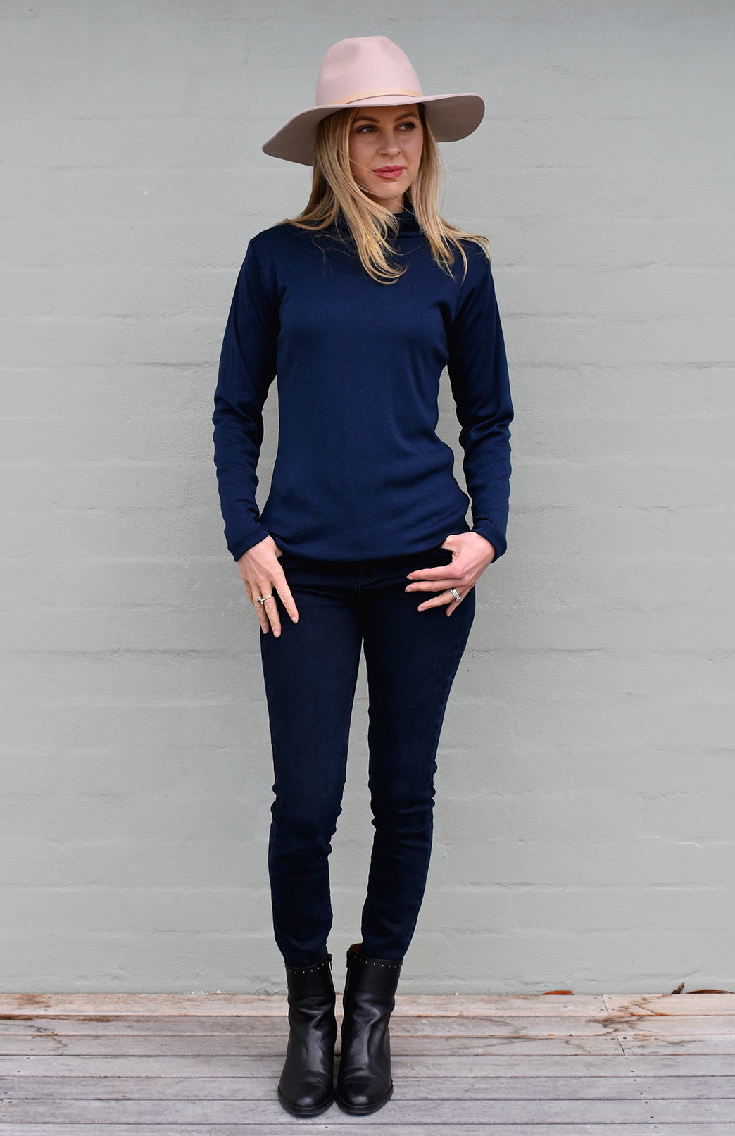 Polo Neck Top - Women's Ink Blue Wool Long Sleeved Polo Neck Top - Smitten Merino Tasmania Australia