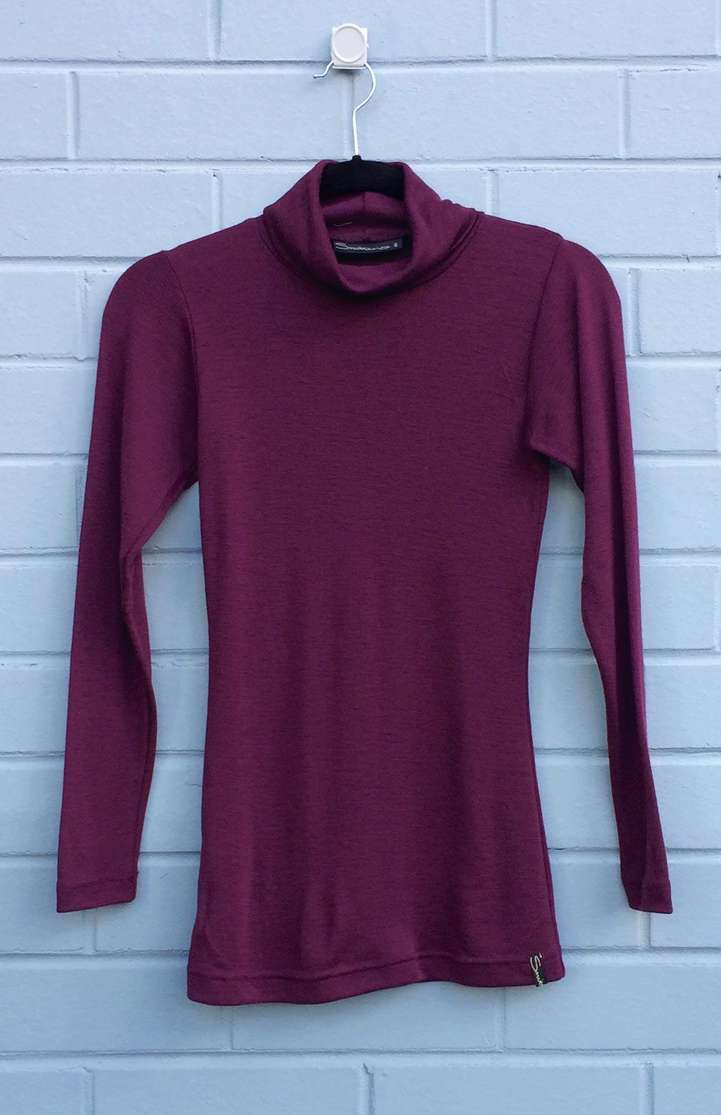 Polo Neck Top - Women's Aubergine Purple Pure Wool Polo Neck Top with Long Sleeves - Smitten Merino Tasmania Australia