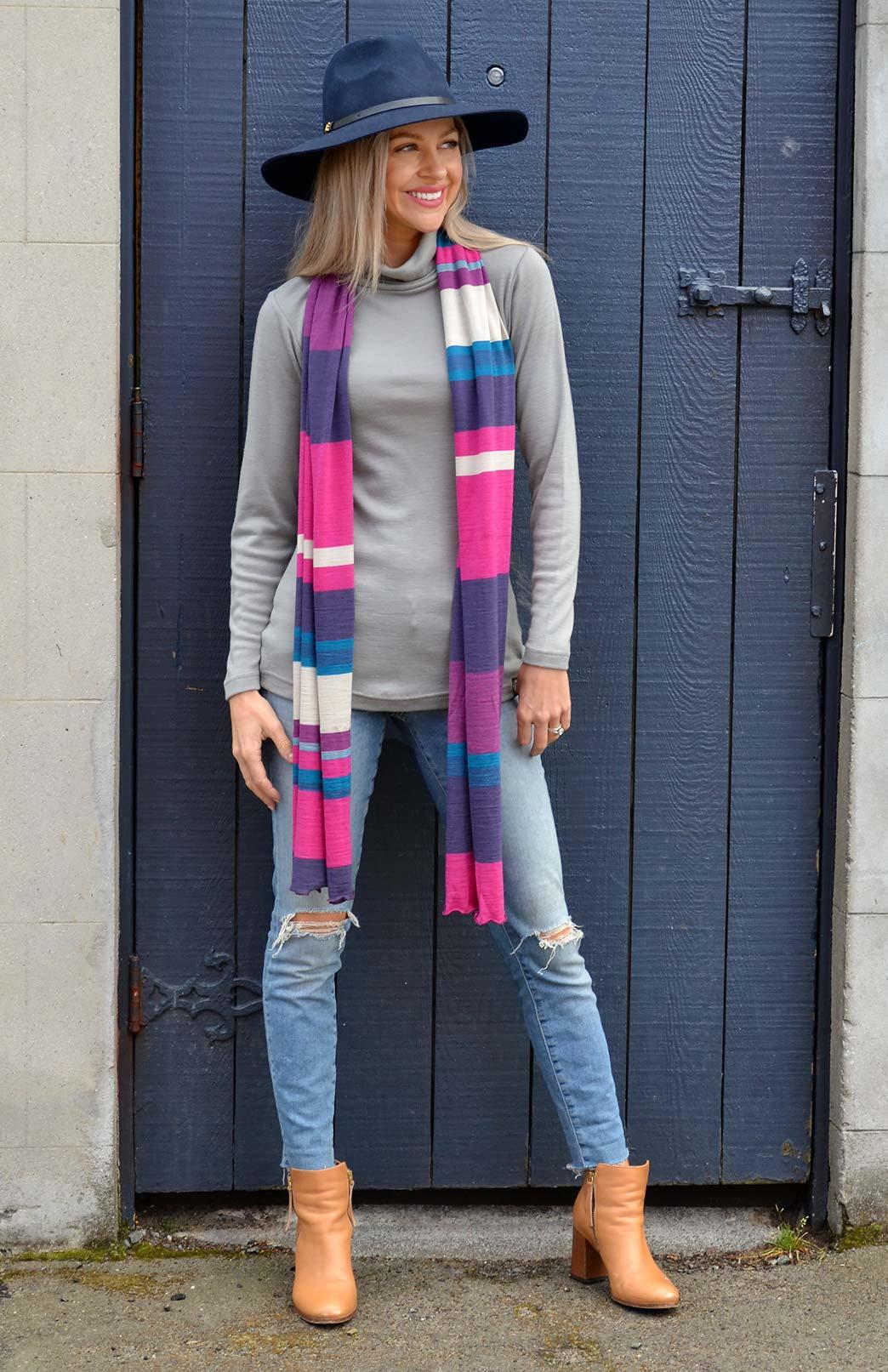 Polo Neck Top - Women's Frost coloured Wool Long Sleeved Polo Neck Top - Smitten Merino Tasmania Australia