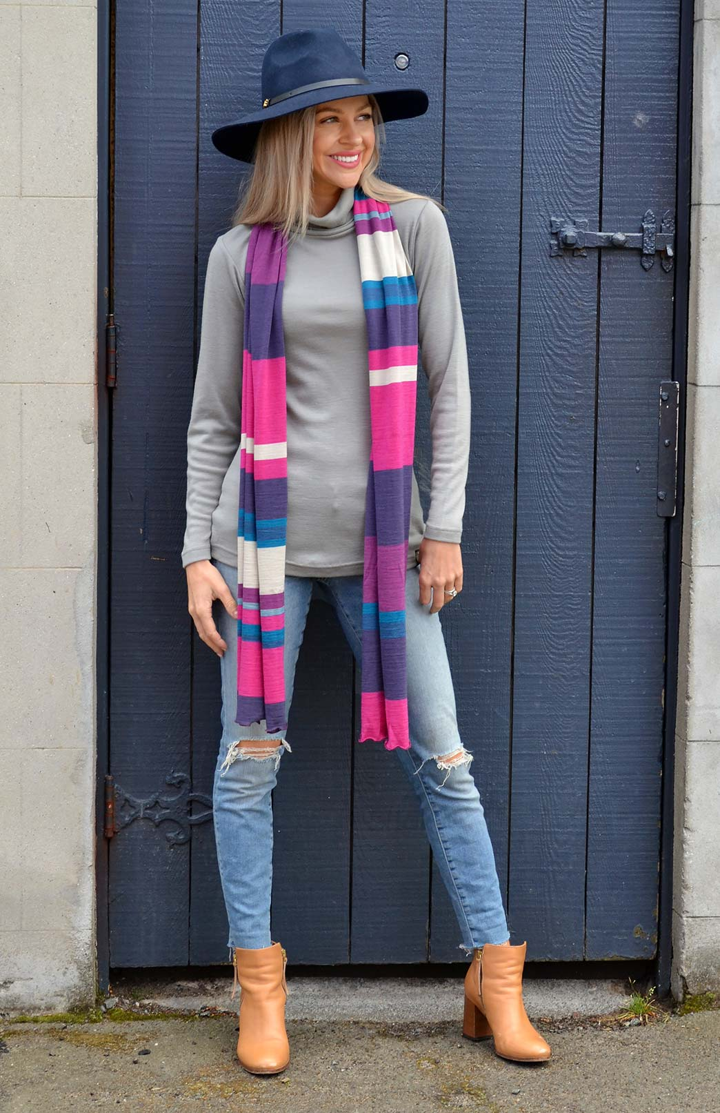Scarves - Multi Striped - Women's Grape Purple and Pink Multi Striped Wide Wool Scarf - Smitten Merino Tasmania Australia